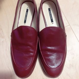 Zara red leather loafer